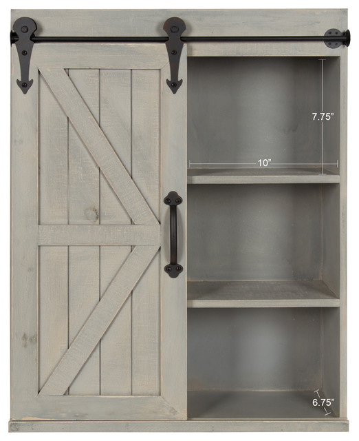 White Farmhouse Sliding Door Cabinet: Wood Wall Storage Cabinet With Sliding Barn Door