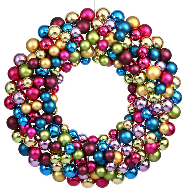 Vickerman Plastic Ball Ornament Wreath 24 Contemporary Wreaths And Garlands By Vickerman Company