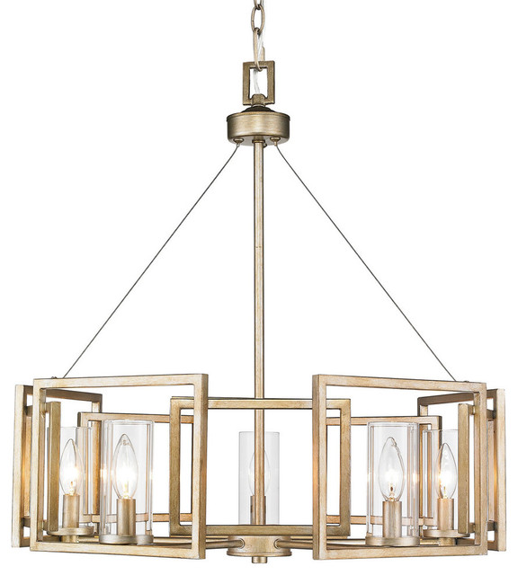 Marco 5-Light Chandelier, White Gold With Clear Glass