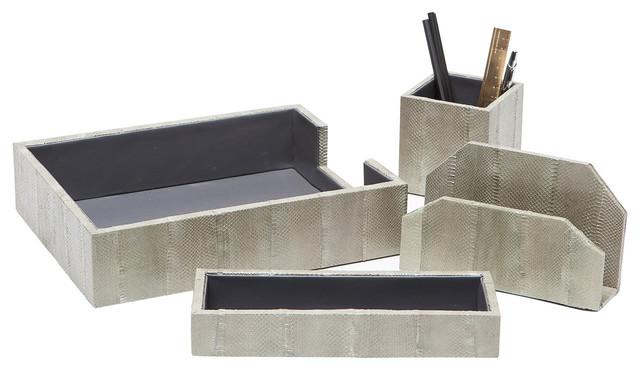 Zanzibar Desk Accessories Gray 4 Piece Set