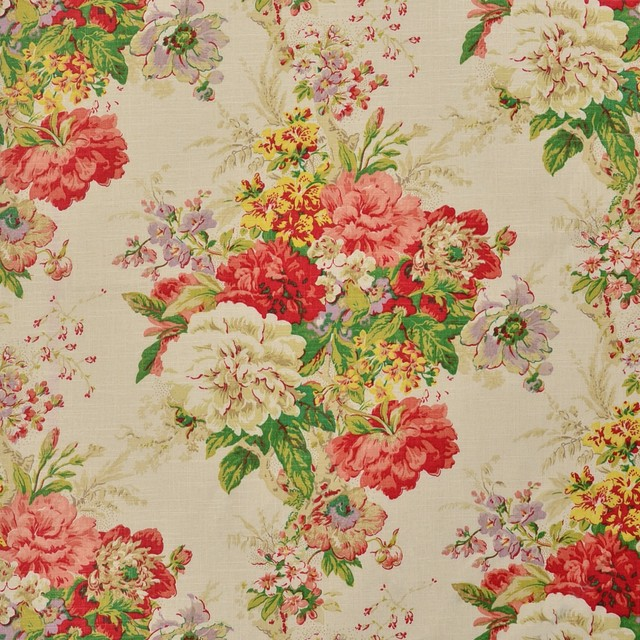 Radish Green Purple Red Yellow Floral Traditional Print Upholstery