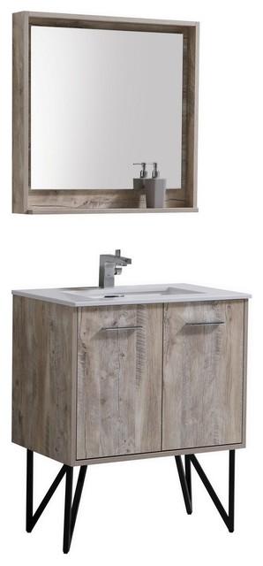 Bosco 30 Modern Bathroom Vanity With Quartz Countertop And Matching Mirror Vanities