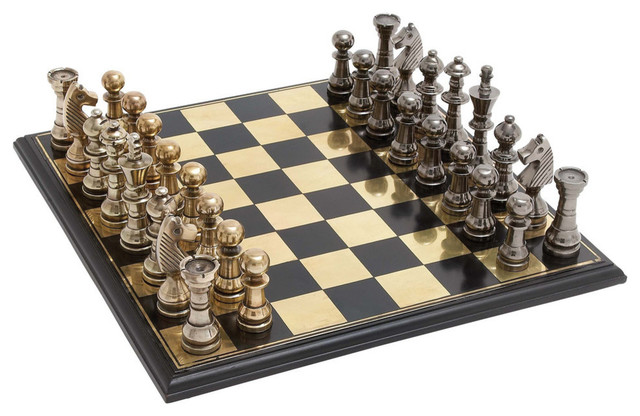 Contemporary Chess Set metal and wood chess set - contemporary - board games and card