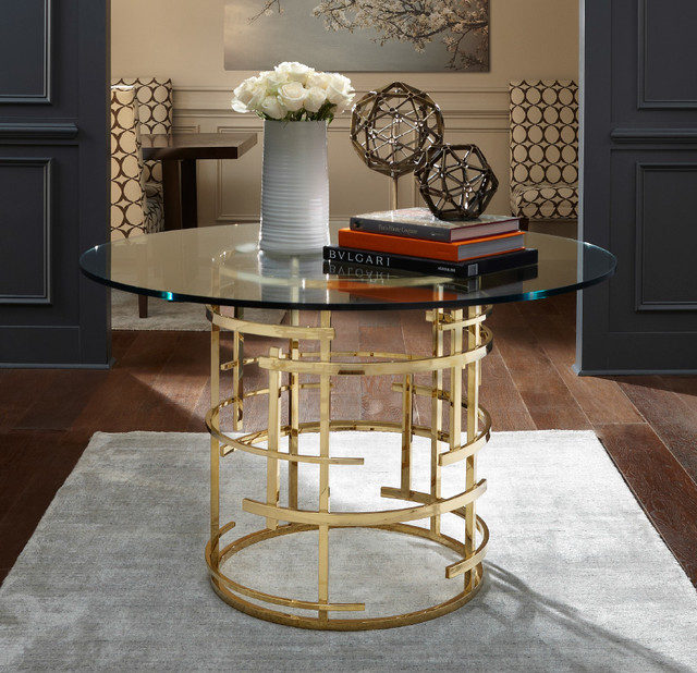 Jules Brass Glass Table Modern Entrance