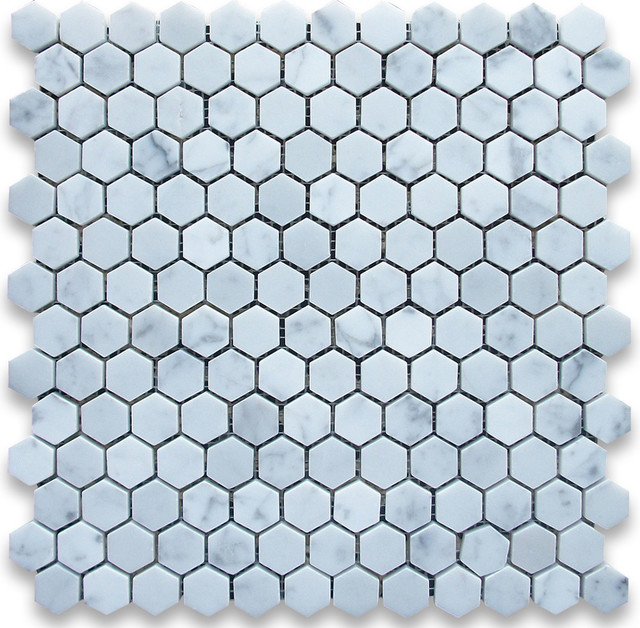 12 Quot X12 Quot Carrara White Hexagon Mosaic Tile Polished Chip