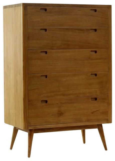 Harmonia Living Fifties 5 Drawer Tower Dresser Danish Honey
