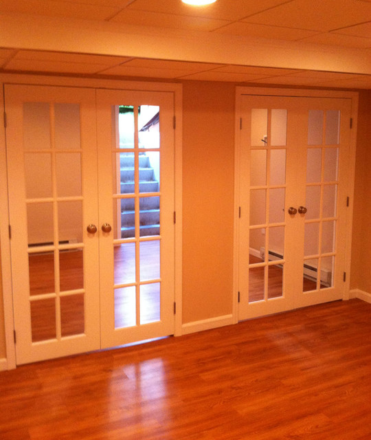 French Doors Basement Transition Space Contemporary