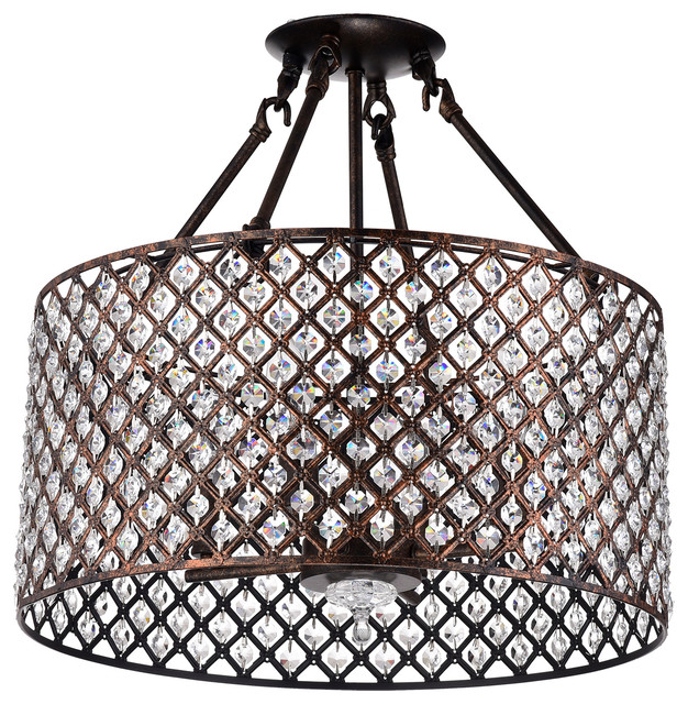 Marya 4 Light Antique Copper Beaded Drum Semi Flush Mount Crystal Chandelier Gla