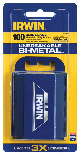 Irwin 100 Count Bi-Metal Blue Blades.