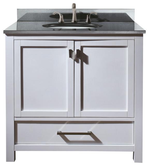 Avanity Modero 37 Vanity In White Finish Transitional - 36 Vanity With Granite Top - Bathroom Vanities