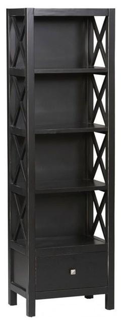 Linon Anna Collection Tall Narrow 5 Shelf Bookcase In Antique Black