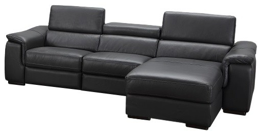 Alegra Leather Sectional Sofa With Power Recliner, Right Hand Facing