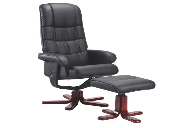 Black Leather Air Contemporary Tv Chair With Ottoman Five