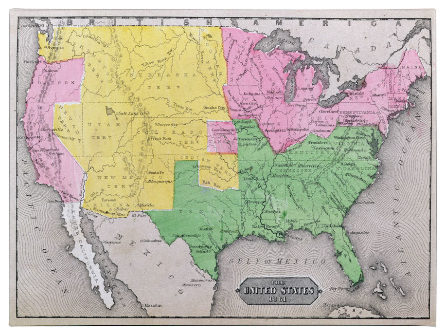 \'Map of the United States, 1861\' Canvas Art