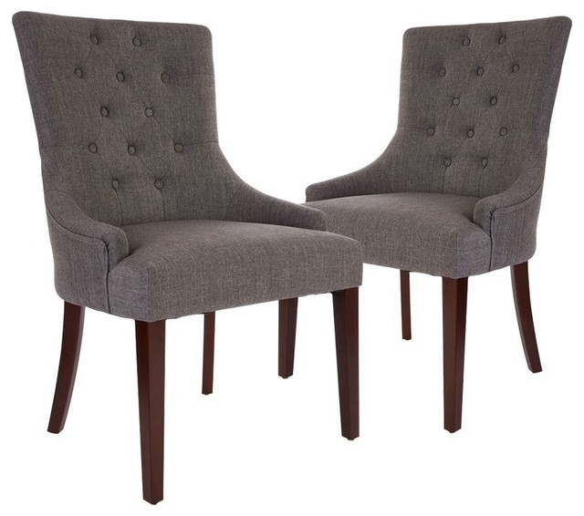 Dark Gray Fabric Dining Chair With Tufted Back, Set Of 2