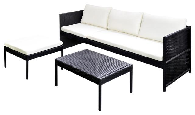Vidaxl Garden Lounge Set Poly Rattan Wicker Black 3 Seat Sofa Patio
