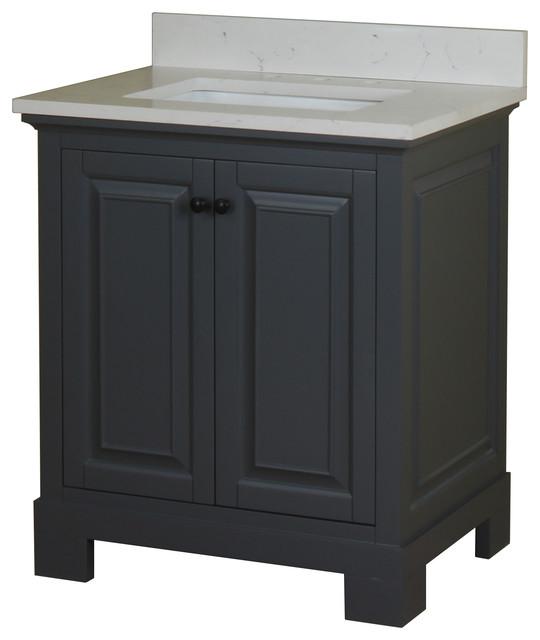 """Home Elements Vanity 30x22 White Quartz Top, 30"""" Gray."""