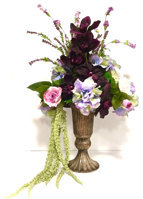 Tall Orchid Floral Arrangement Purple Pink Lavender Lime Hydrangea