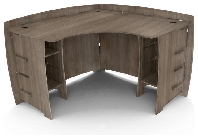 """Corner Desk, 47""""x47"""", Gray Driftwood."""
