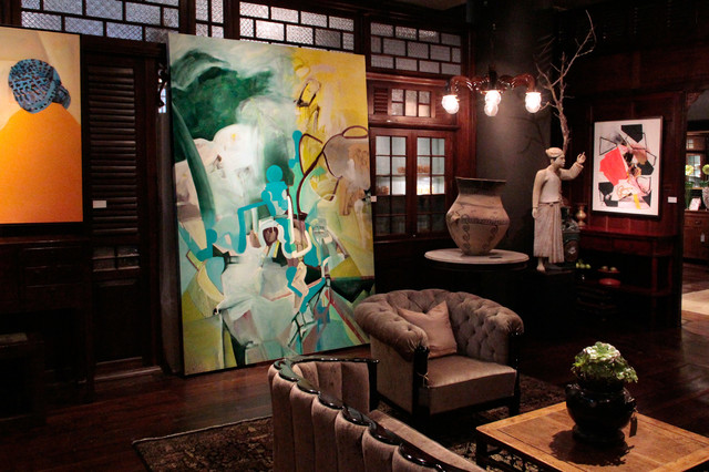 Installation View Of Large Scale Abstract Oil Painting Contemporary Living Room