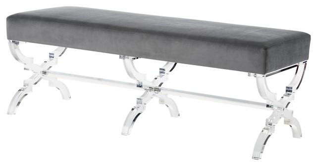 Enzo Velvet Acrylic X-Leg Bench, Gray.