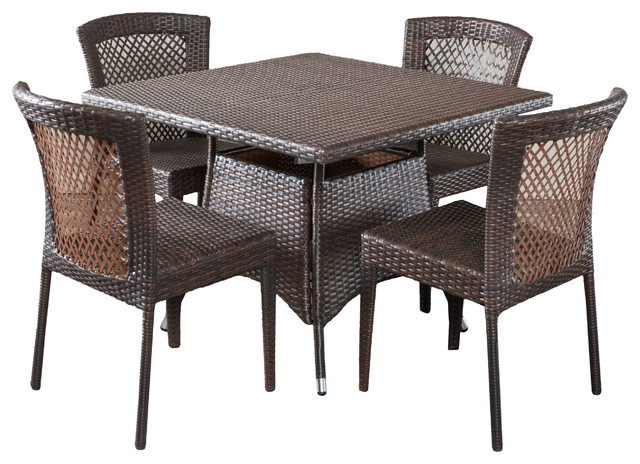 Perry Outdoor Multibrown Wicker Square Dining 5-Piece Set