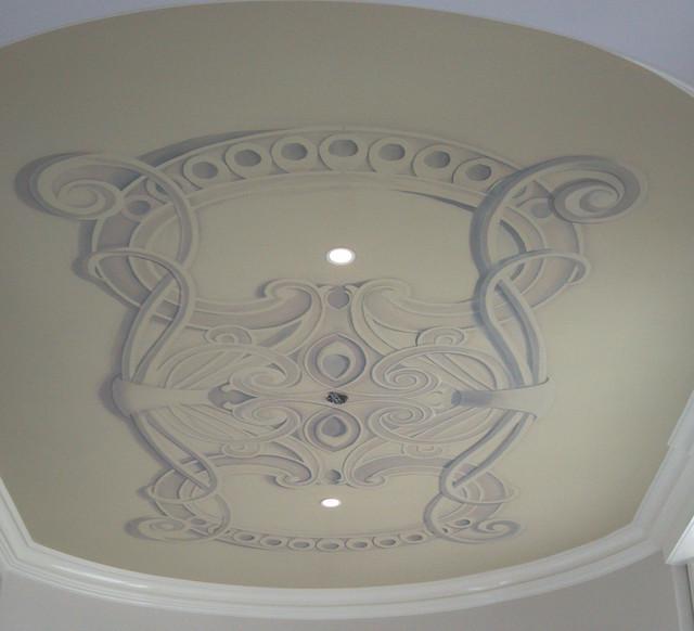Custom  Art Nouveau Trompe L'oiel Ceiling eclectic