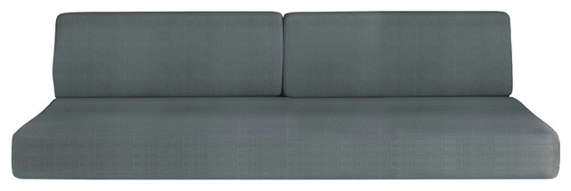 Compact Full Sofa Bed, Cabinets Wall System, High Gloss White, Dark Wood.