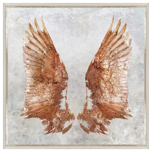 rose gold wings framed art contemporary prints and posters by