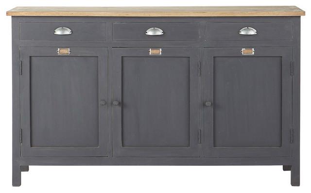 Credenza Con Vetrina Maison Du Monde : Credenza grigia in legno l cm chablis industriale buffet e