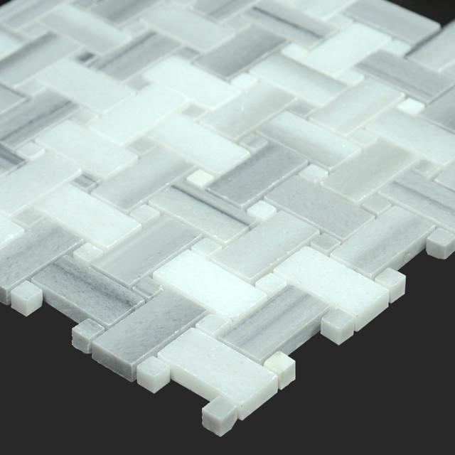 Equator Polished Marble Basket Weave Mosaic