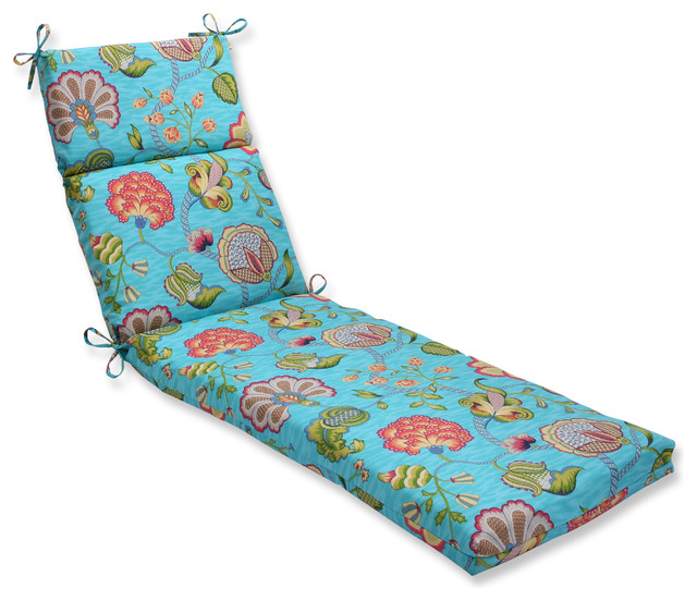 Arabella caribbean blue chaise lounge cushion tropical for Blue chaise lounge cushions