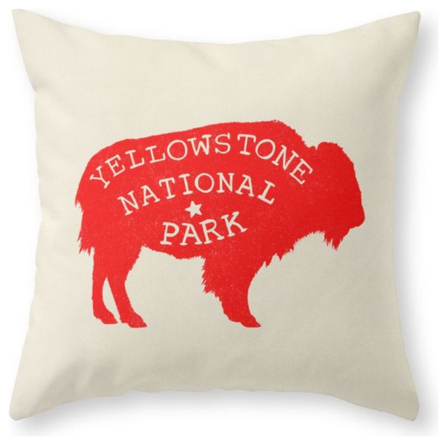 Southwestern Pillows And Throws : Yellowstone National Park Throw Pillow - Southwestern - Decorative Pillows - by Society6