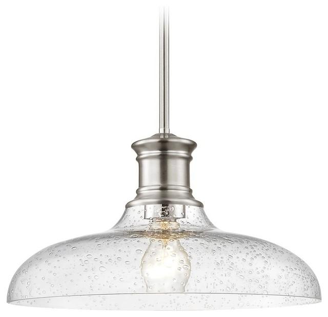 Farmhouse Pendant Light Seeded Gl 14 Chrome Traditional Lighting By Destination