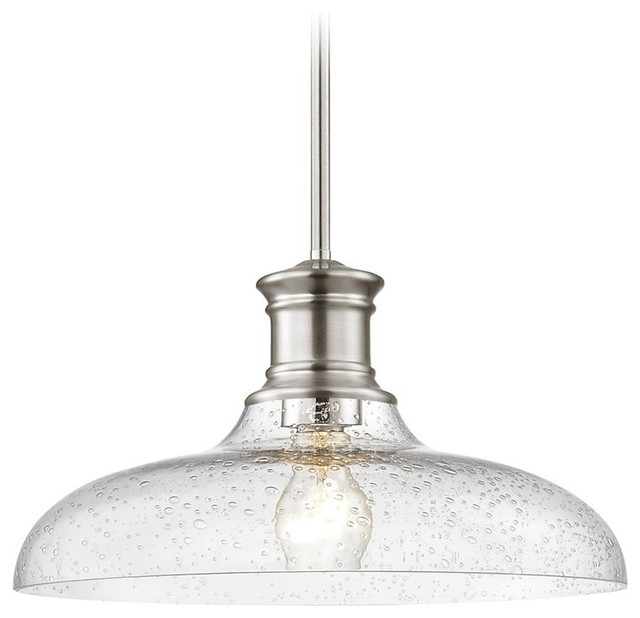 best service 395bb 88cce Satin Nickel Seeded Glass Pendant Light 14-Inch Wide
