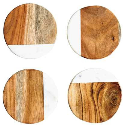 Out of the Woodwork Designs - Marble and Mango Wood Coasters - Coasters  sc 1 st  Houzz & 50 Most Popular Contemporary Drink Coasters for 2018 | Houzz