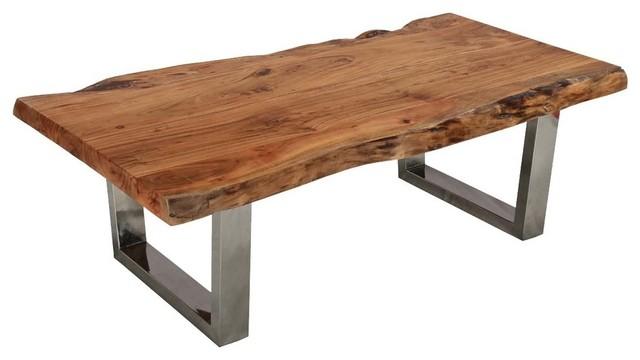 Natural Acacia Wood Steel Rustic Live