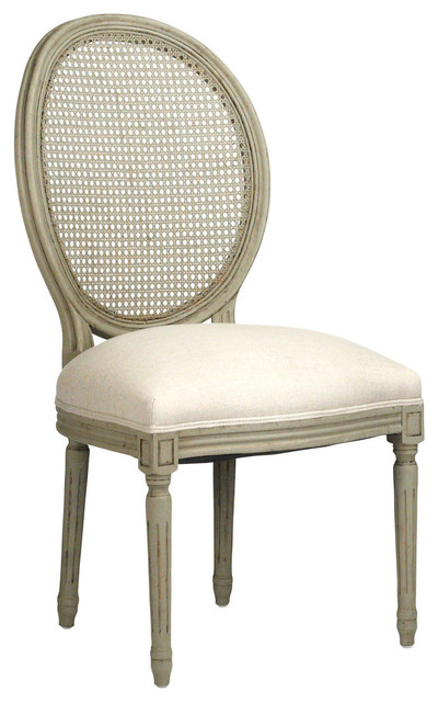 Traditional Dining Chairs medallion side chair with cane back, olive green - traditional
