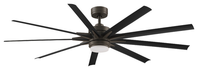 "Odyn Ceiling Fan, Matte Greige With Black Blades, 72""."