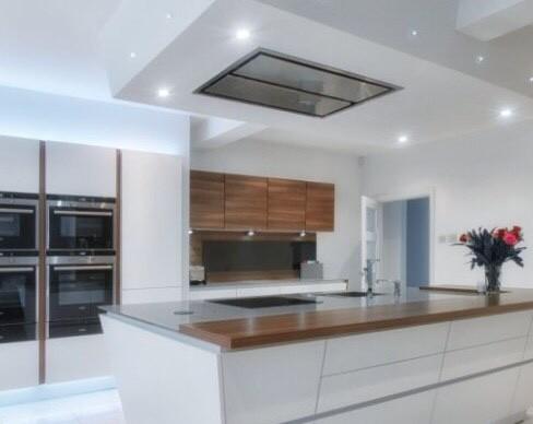 extractor hood integrated ceiling or an island hood