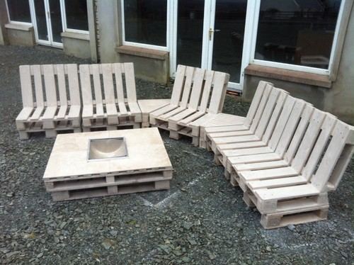 - Patio Pallet Furniture With Fire Pit Table And Porcelain Top