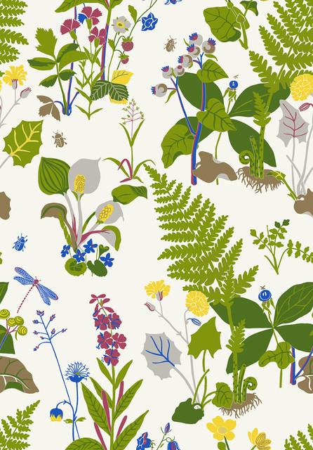 Trollsl Nda Green Botanical Wallpaper Swatch