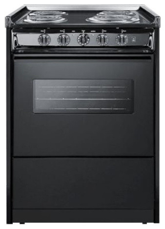 "Summit 24"" Electric Range, Black Tem610cwrt."