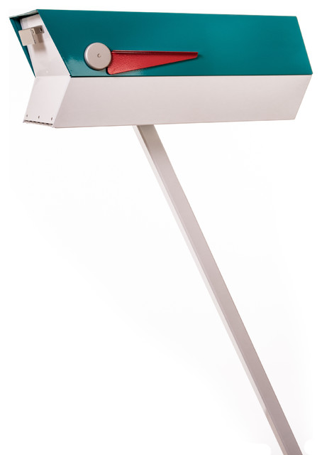 Mid Century Modern 2 Tone Mailbox Turquoise And White