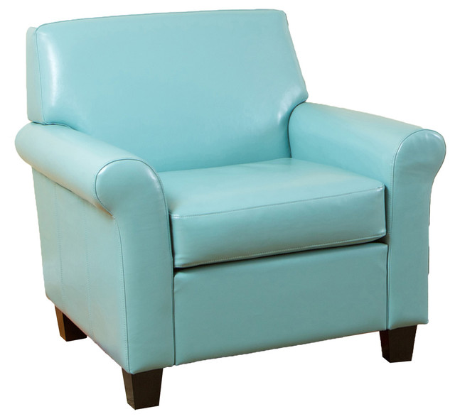 Addison Leather Club Chair, Teal Blue