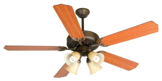 Cd Unipack 204 Ceiling Fan Amber Frost Glass Aged Bronze Cherry Blade 52