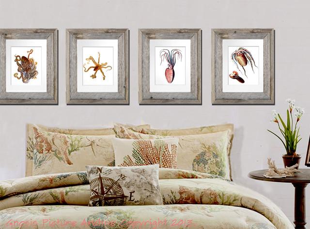 Set Of 4 Unframed Sea Life Beach House / Kids Room / Bathroom Decor