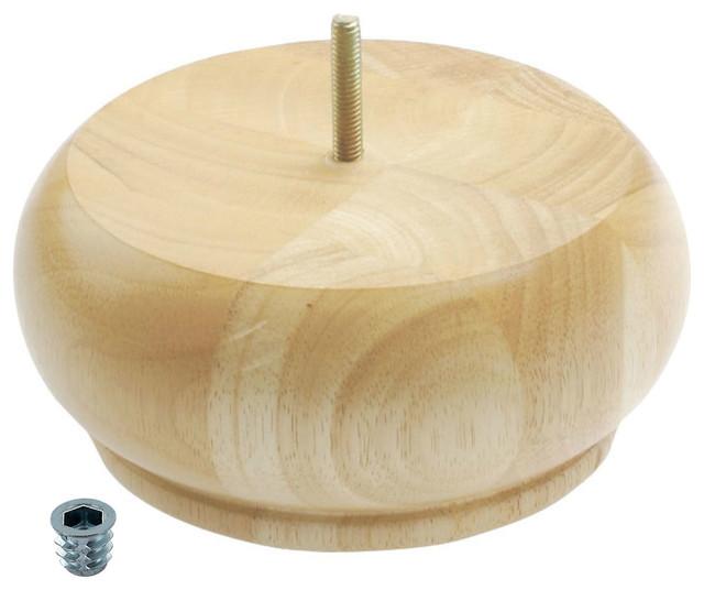 3 high x 6 3 4 od unfinished solid hardwood round bun feet
