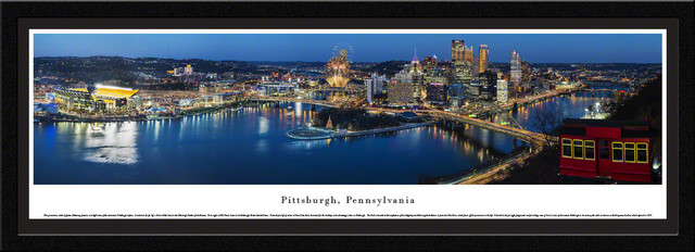Pittsburgh Skyline Panoramic Poster Picture, Select Frame. -1