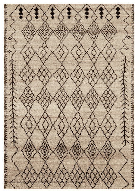 Amira Moroccan Wool Rug, Putty and Black, 160x230 cm